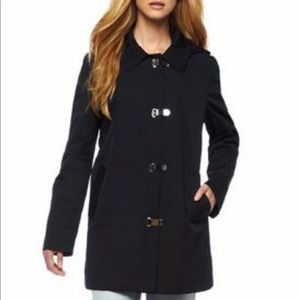 Michael Kors clip front long jacket coat